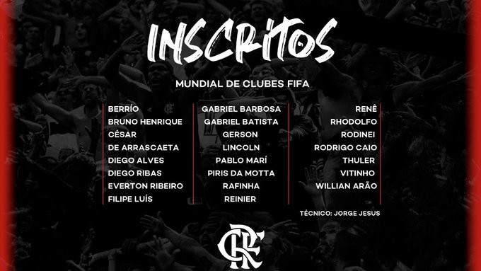 Lista dos 23 inscritos do Flamengo para a disputa do Mundial de Clubes de 2019